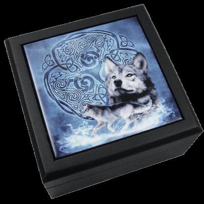 Celtic Wolf Tile Box