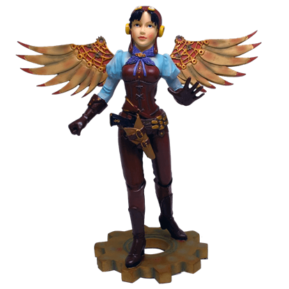 Winged Steampunk Lady Statue