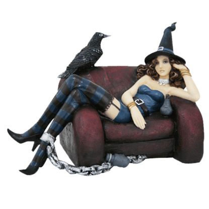 Chained Witch and Raven Statue