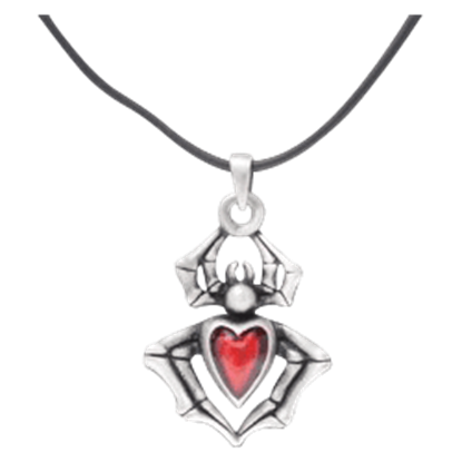 Red Heart Spider Necklace