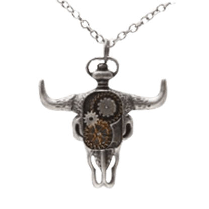 Clockwork Bison Skull Steampunk Necklace