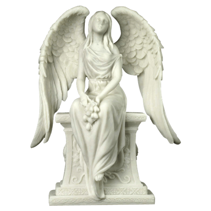 Angel With Roses Sitting On A Tombstone Statue
