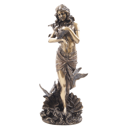 Aphrodite With Doves Standing On Sea Shell Statue