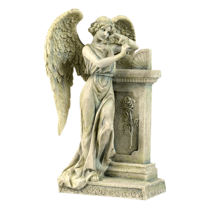 Angel Leaning On A Tombstone Statue