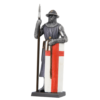 Armored Soldier With Spear And Long Shield Statue