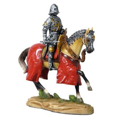 Armored Crusader On Horseback With Maltese-Cross Emblem Statue