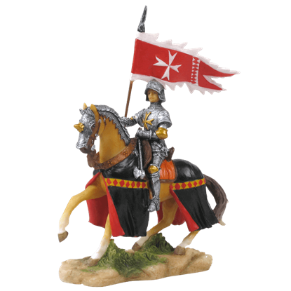 Armored Crusader On Horseback With Maltese-Cross Flag Statue