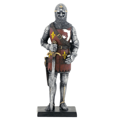 Armored Knight With Chainmail Coif Helmet And Sword Statue