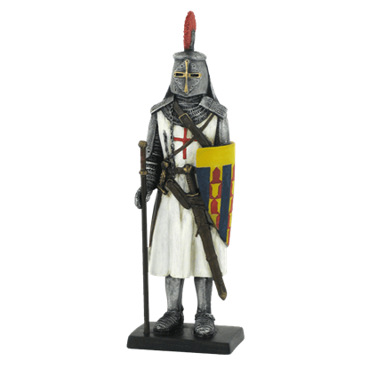Armored Crusader With Staff And Striped Shield Statue
