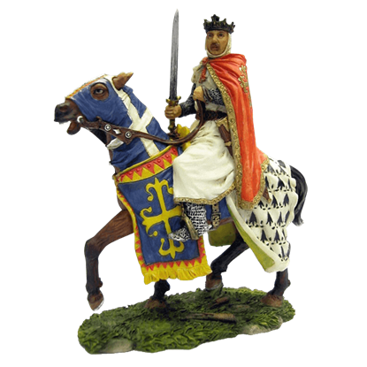 Armored Crusader King Raising His Sword On Caparisoned Horse Statue
