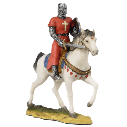 Armored Knight On Horseback With Shield And Sword Statue