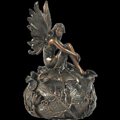 Bronze Fairy On Squash Trinket Box