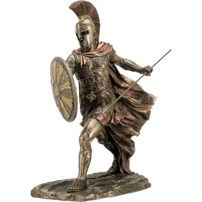 Achilles with Spear and Shield Statue
