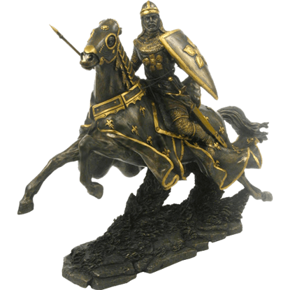 Armored Knight Charging with Lance Statue