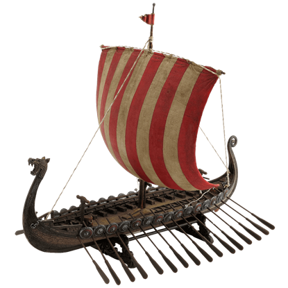 Red and White Viking Longship Replica