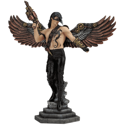 Crow-Masked Winged Steampunk Warrior Statue