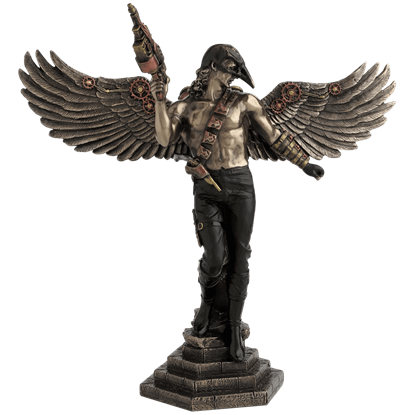 Bronze Crow-Masked Winged Steampunk Warrior