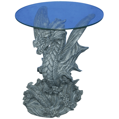 Leaping Water Dragon Glass Top Table