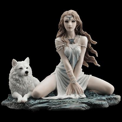Elf Maiden and Wolf Statue