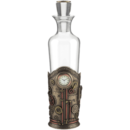 Steampunk Spirit Decanter With Clock