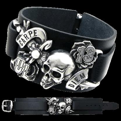 Carpe Diem Leather Bracelet