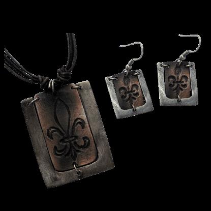 Antiqued Silver and Copper Fleur De Lis Necklace and Earring Set