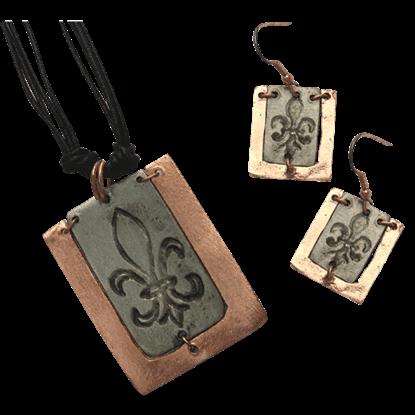Copper and Antique Silver Fleur De Lis Necklace and Earring Set
