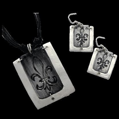 Antiqued Silver Fleur De Lis Necklace and Earring Set