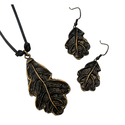 Antique Brass Oak Leaf Necklace and Earring Set