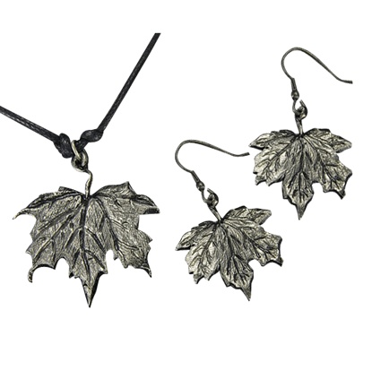 Antique Silver Maple Leaf Necklace and Earring Set