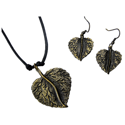 Antique Brass Round Leaf Necklace and Earring Set