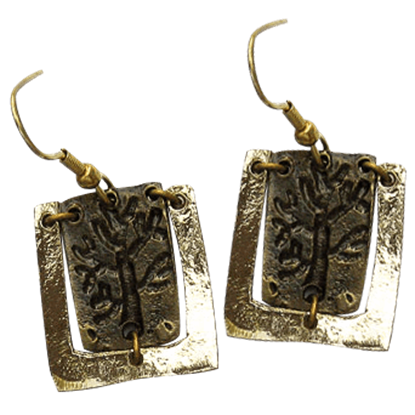 Antiqued Brass Engraved Tree Earrings