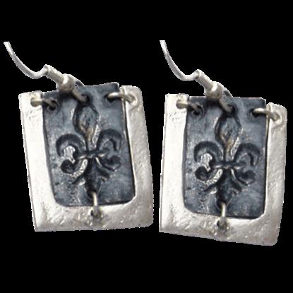 Antiqued Silver Fleur De Lis Earrings