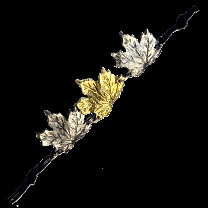 Alternating Brass and Silver Maple Leaf Bracelet