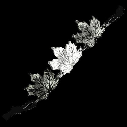 Alternating Antiqued Silver Maple Leaf Bracelet