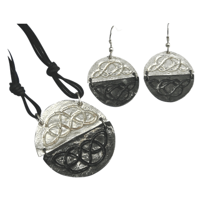 Antiqued Silver Round Celtic Knot Necklace and Earring Set