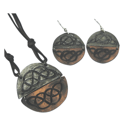 Antiqued Silver and Copper Round Celtic Knot Necklace and Earring Set