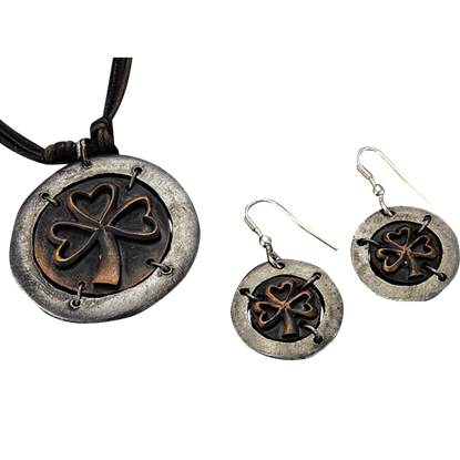 Antiqued Silver and Copper Lucky Charm Necklace and Earring Set