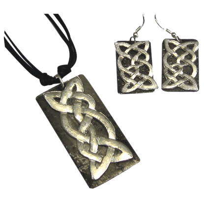 Antiqued Silver Celtic Knot Necklace and Earring Set