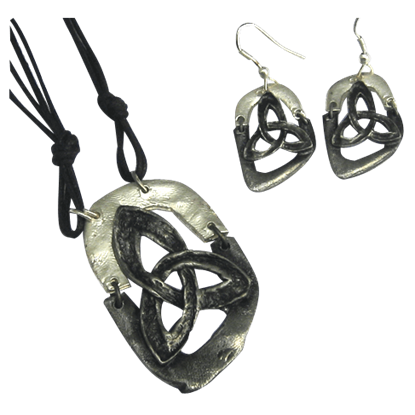 Antiqued Silver Triquetra Necklace and Earring Set