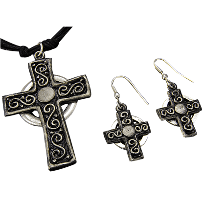 Antique Silver Cross Necklace and Earring Set