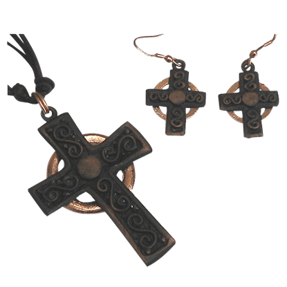 Antique Copper Cross Necklace and Earring Set