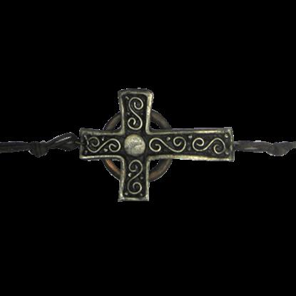 Antique Silver and Copper Cross Bracelet