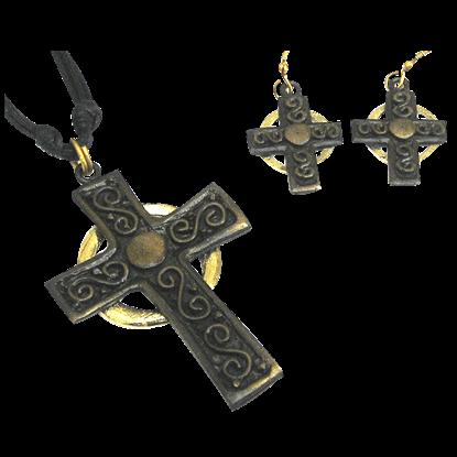 Brass Celtic Cross Jewelry Set