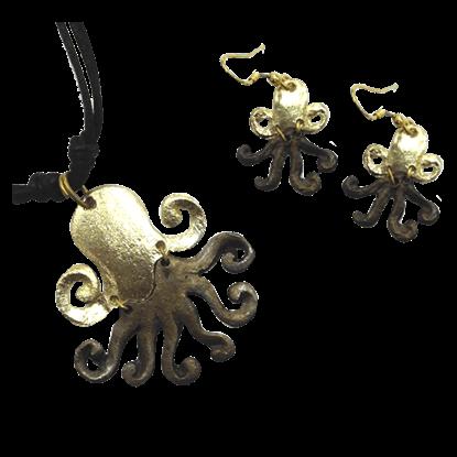 Brass Octopus Jewelry Set