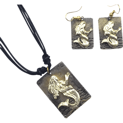 Brass Mermaid Necklace and Earrings Set