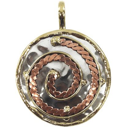 Brass and Copper Spiral Braid Pendant