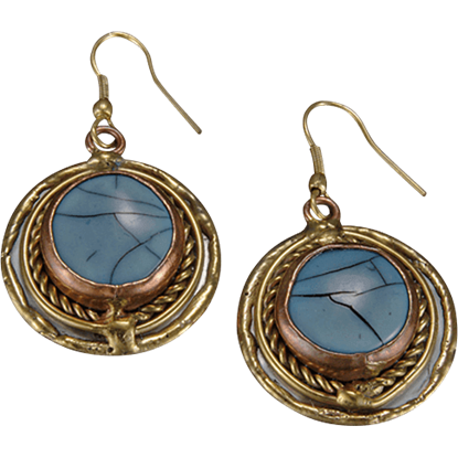Brass and Copper Blue Turquoise Earrings