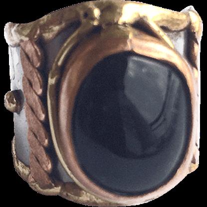 Brass and Copper Dark Agate Cuff Ring