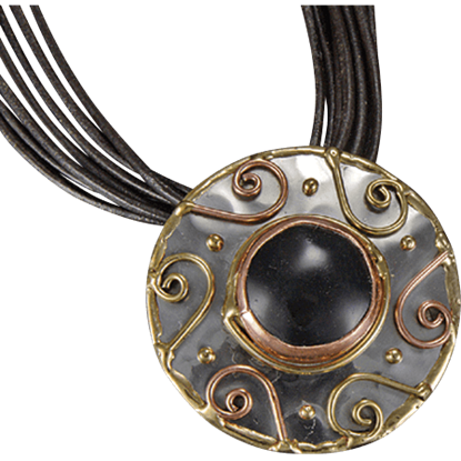 Brass and Copper Black Onyx Spiral Necklace